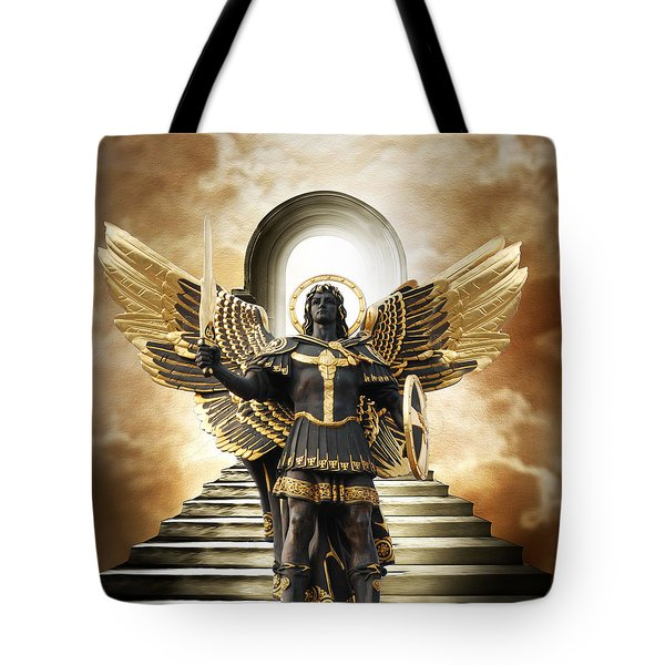 Tote Bag featuring the digital art Angels Watching Over Me by Karen Showell