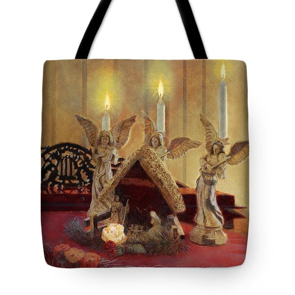Tote Bag featuring the painting Angels Watching Over by Nancy Lee Moran