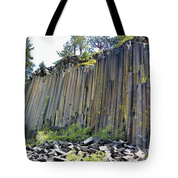 Angle View Desert Postpile Tote Bag