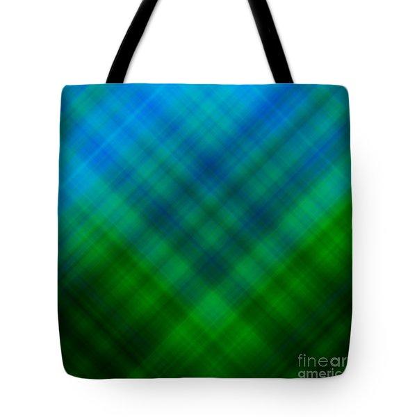 Angled Blue Green Plaid Tote Bag