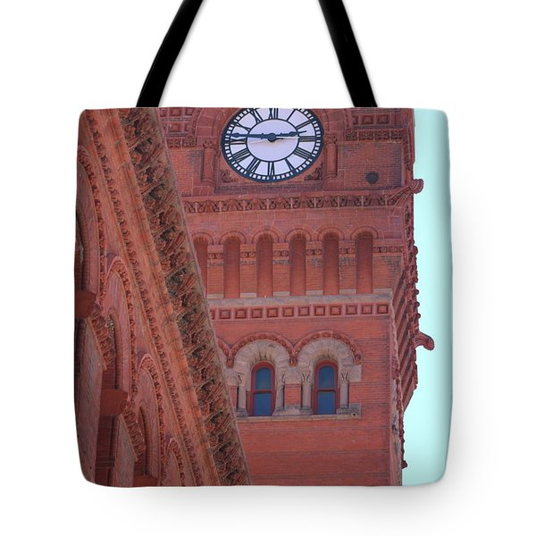 Angled View Of Clocktower At Dearborn Station Chicago Tote Bag
