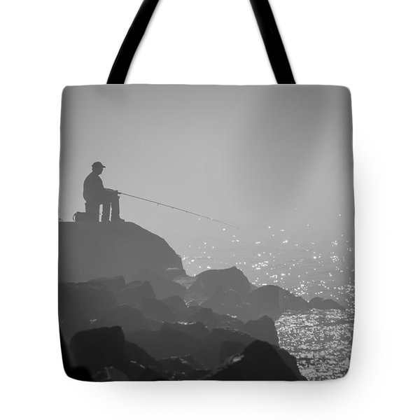 Angling In A Fog  Tote Bag by Bill Pevlor