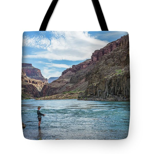 Angling On The Colorado Tote Bag by Alan Toepfer