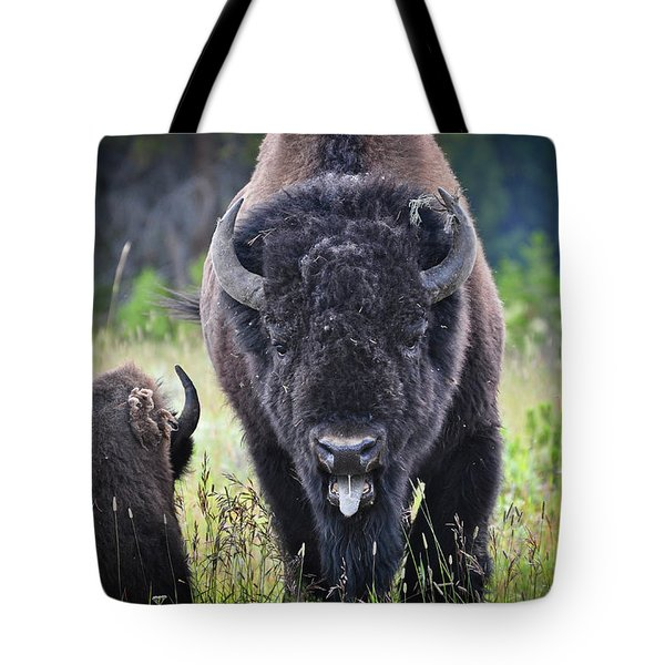 Angry Bison Tote Bag by Greg Norrell