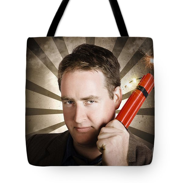 Angry Business Man With Bomb. Work Pressure Tote Bag