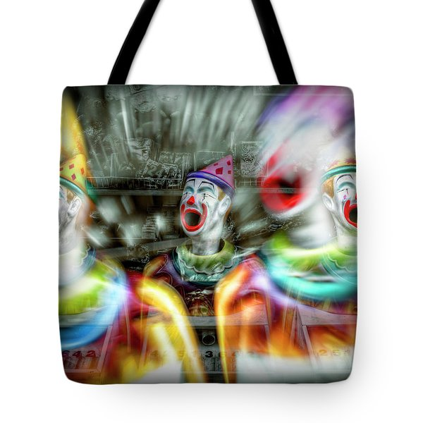 Tote Bag featuring the photograph Angry Clowns by Wayne Sherriff
