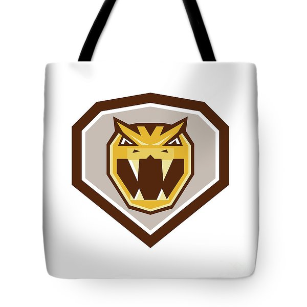 Angry Horned Viper Crest Retro Tote Bag