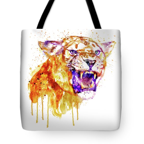 Tote Bag featuring the mixed media Angry Lioness by Marian Voicu