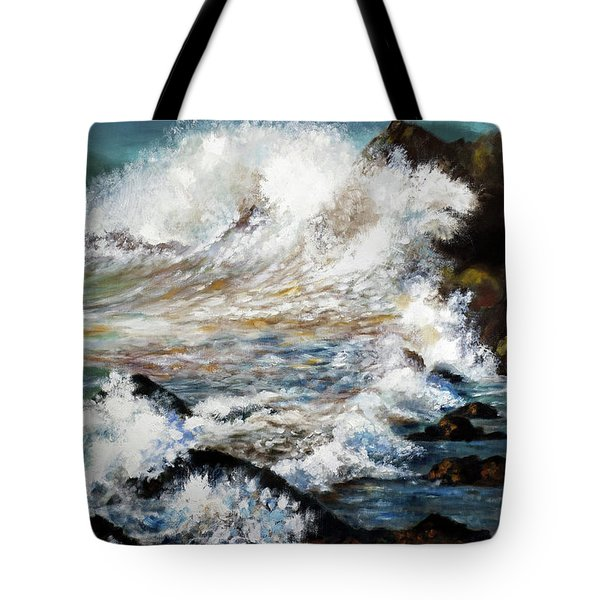 Tote Bag featuring the painting Angry Sea by Walter Fahmy
