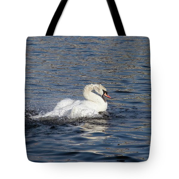 Angry Swan On The Water Tote Bag by Michal Boubin
