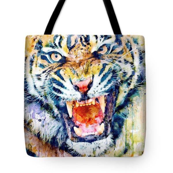 Angry Tiger Watercolor Close-up Tote Bag
