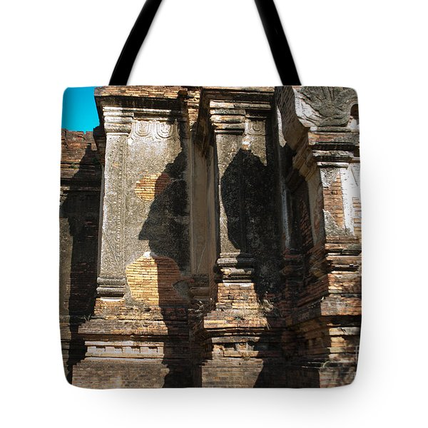 Angular Corner Of Temple In Burma With Sunny Blue Sky Tote Bag by Jason Rosette