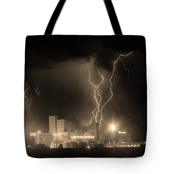 Anheuser-busch On Strikes Black And White Sepia Image Tote Bag by James BO  Insogna