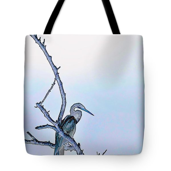 Anhinga In Blue Tote Bag by Pamela Blizzard