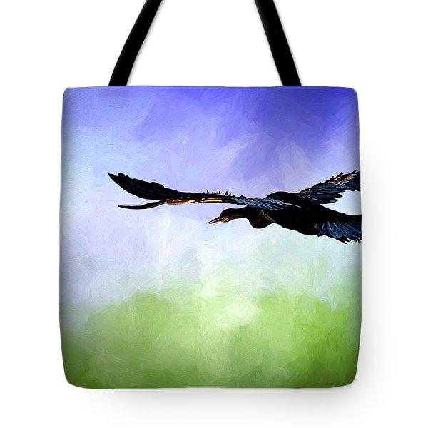 Anhinga In Flight Tote Bag by Cyndy Doty