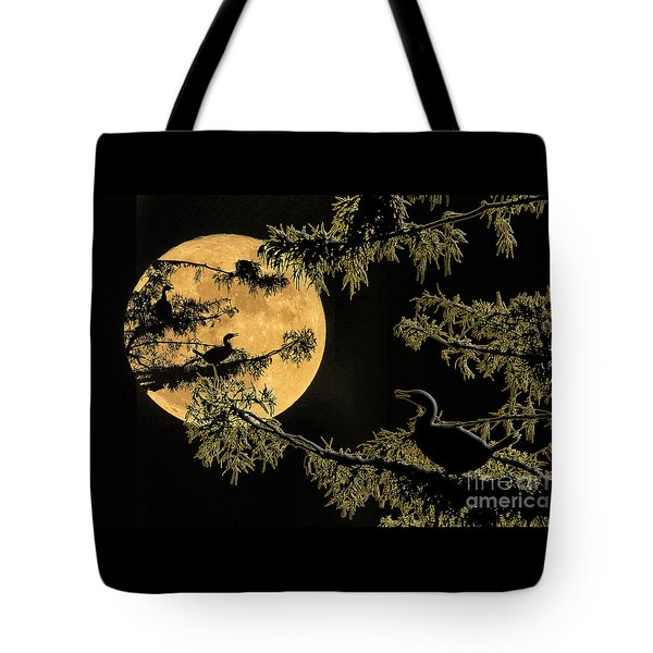 Tote Bag featuring the photograph Anhingas In Full Moon by Bonnie Barry