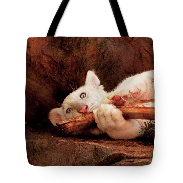 Animal - Cat - My Chew Toy Tote Bag by Mike Savad