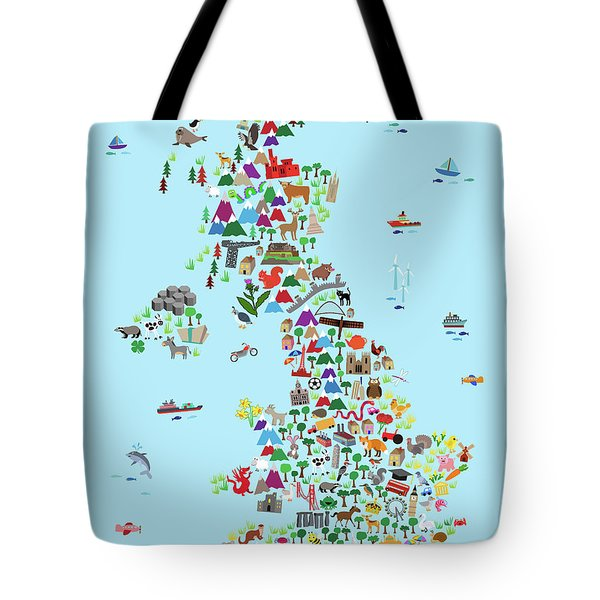 Animal Map Of Great Britain And Ni For Children And Kids Tote Bag