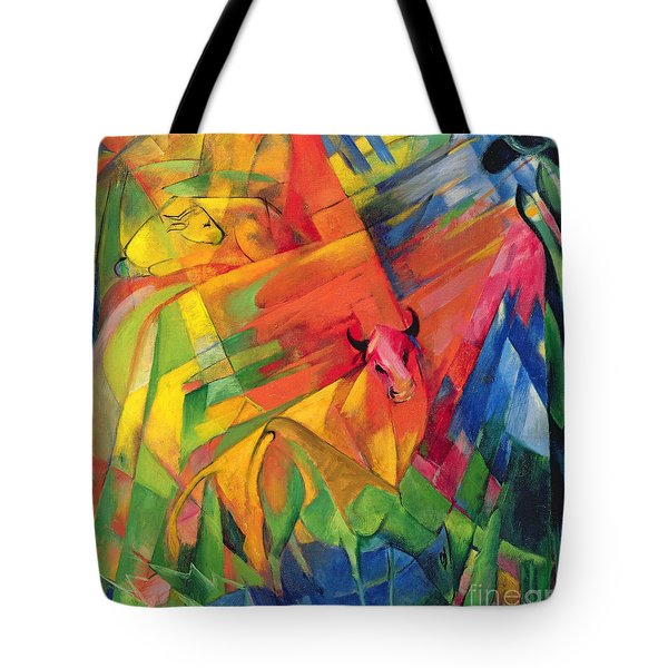 Animals In A Landscape Tote Bag by Franz Marc