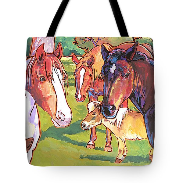 Tote Bag featuring the painting Anjelica Huston's Horses by Nadi Spencer