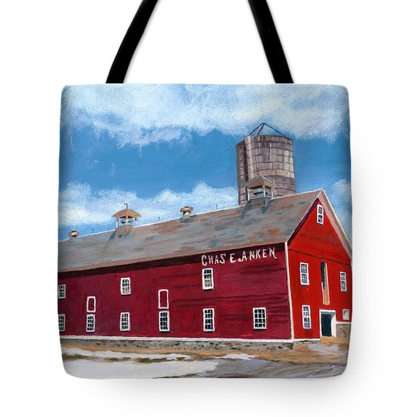Tote Bag featuring the painting Anken's Barn by Lynne Reichhart