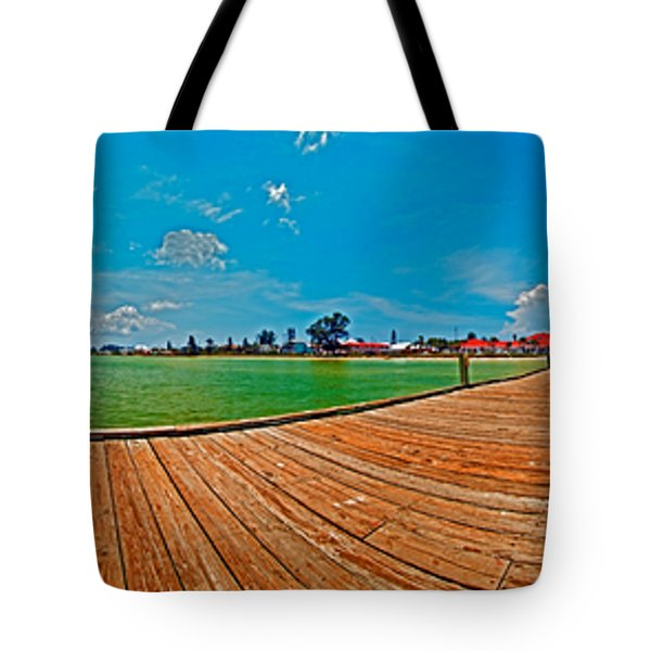 Anna Maria Island Seen From The Historic City Pier Panorama Tote Bag