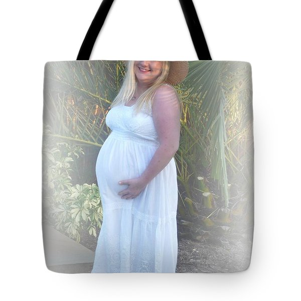 Annah In White Dress And Hat Tote Bag