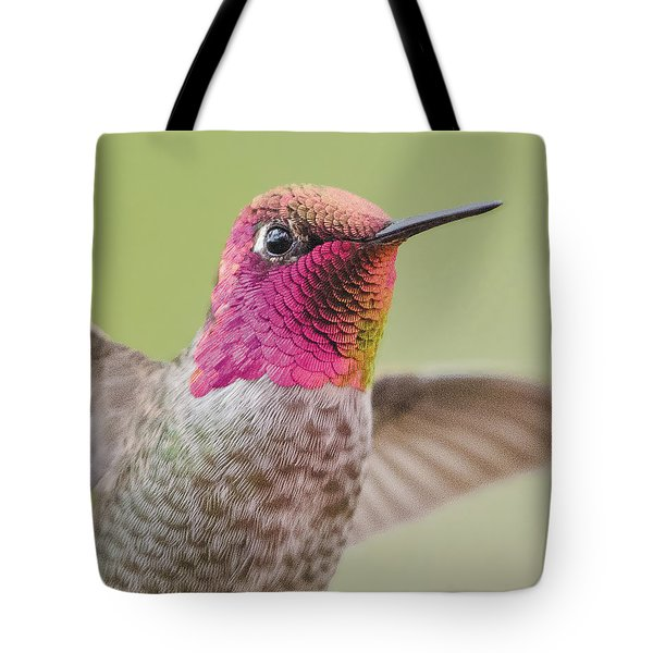 Anna's Hummingbird Closup In Flight Tote Bag