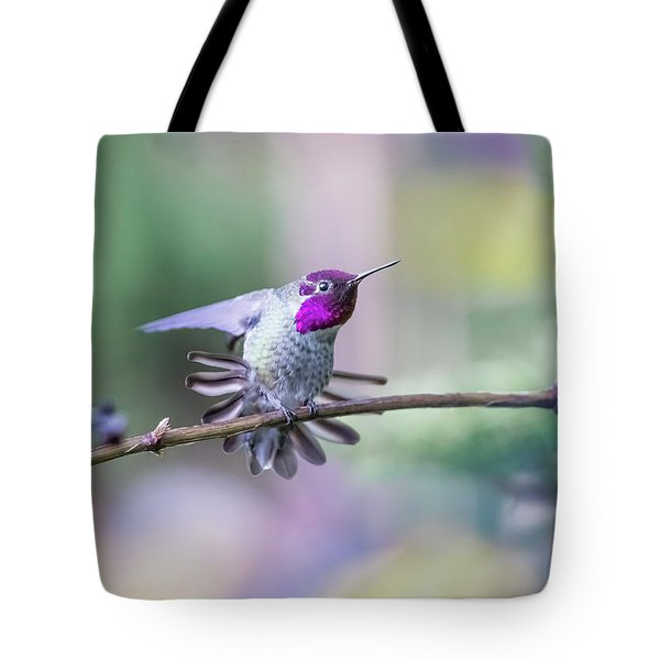 Tote Bag featuring the photograph Anna's Hummingbird Stretching by Kathy King