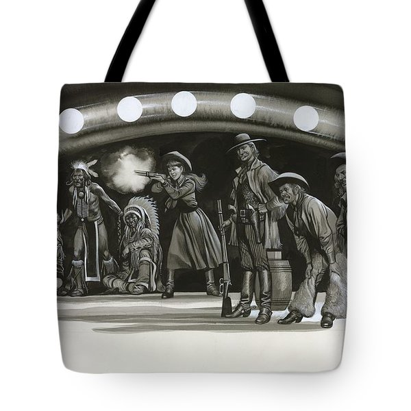 Annie Oakley Demonstrating Her Shooting Prowess Tote Bag