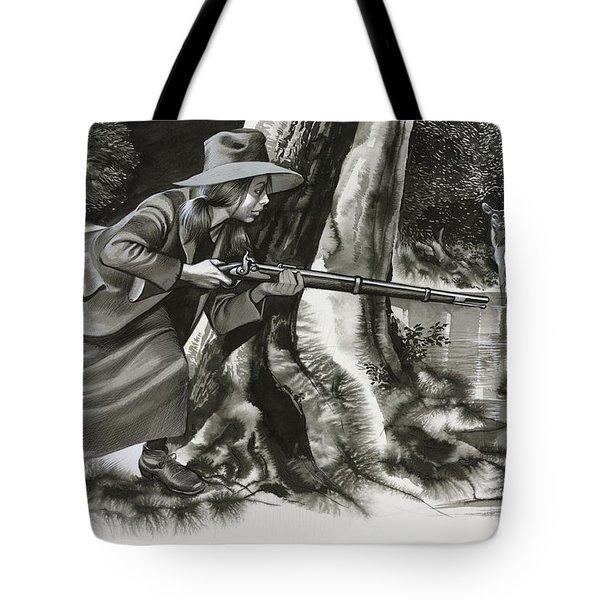Annie Oakley Shooting A Buck Tote Bag