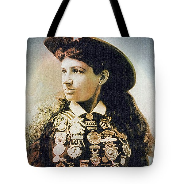Annie Oakley - Shooting Legend Tote Bag by Ian Gledhill