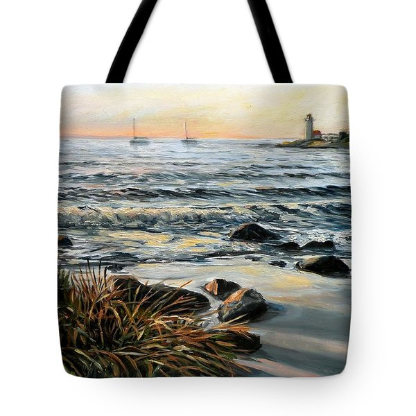 Annisquam Beach And Lighthouse Tote Bag