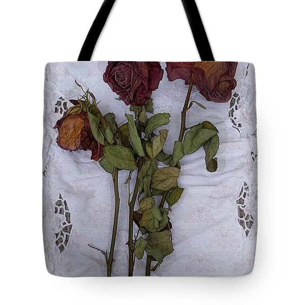 Tote Bag featuring the digital art Anniversary Roses by Alexis Rotella
