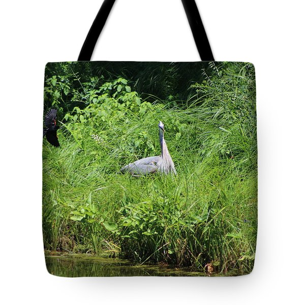 Annoyed - Heron And Red Winged Blackbird 1 Of 10 Tote Bag