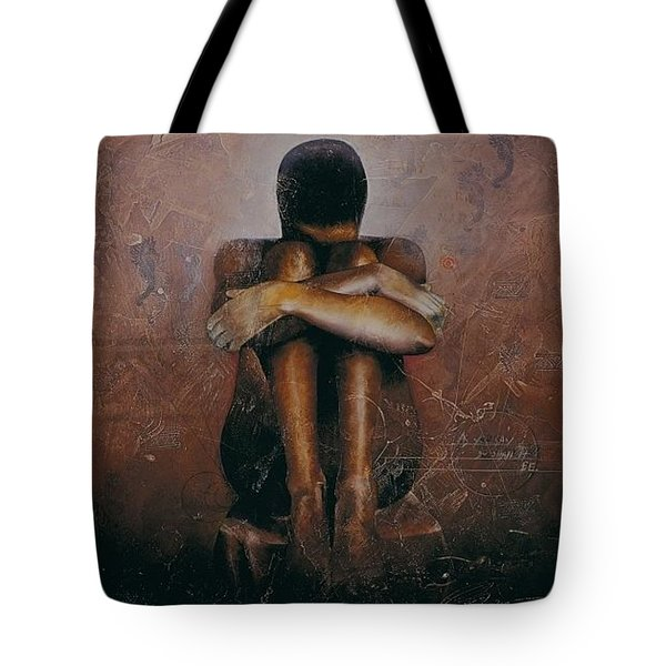 Tote Bag featuring the painting Annunciation / Mary by Christopher Marion Thomas