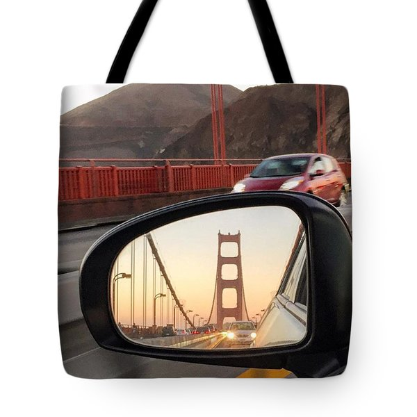 Side Mirror Golden Gate Bridge Tote Bag