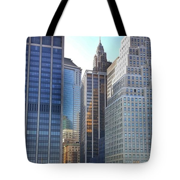 Nyc Skyline Reflections Tote Bag