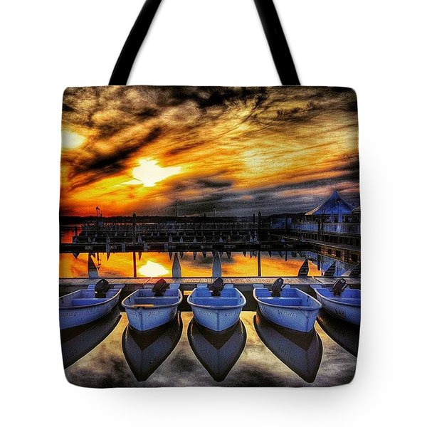 Sunset Over The Marina Tote Bag by Lauren Fitzpatrick