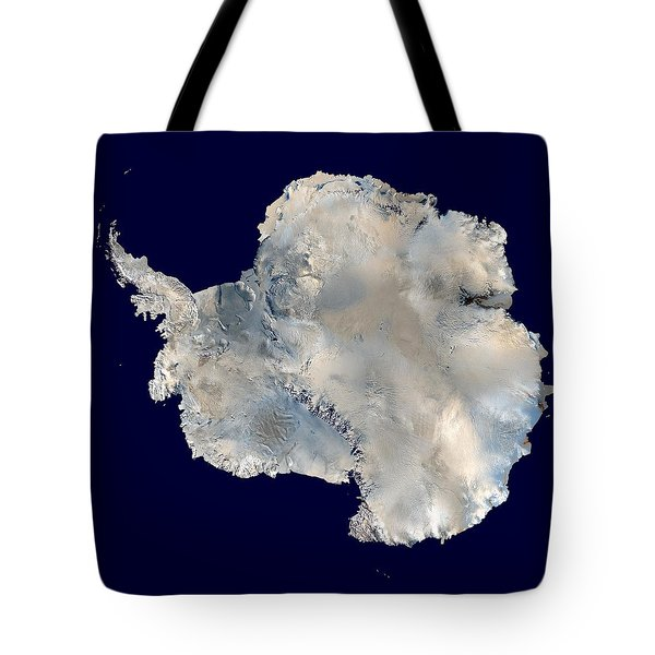 Tote Bag featuring the pyrography Antarctica From Blue Marble by Artistic Panda