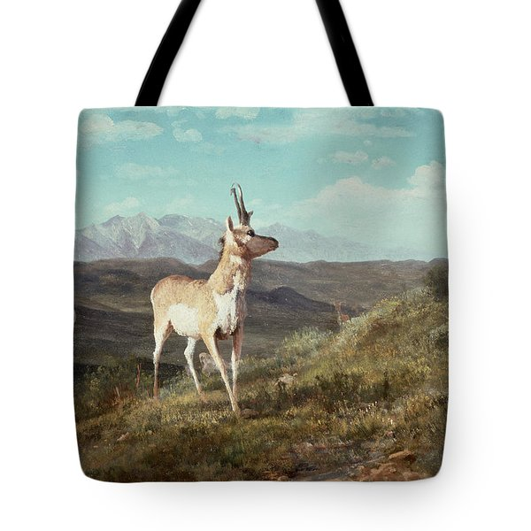 Antelope Tote Bag by Albert Bierstadt