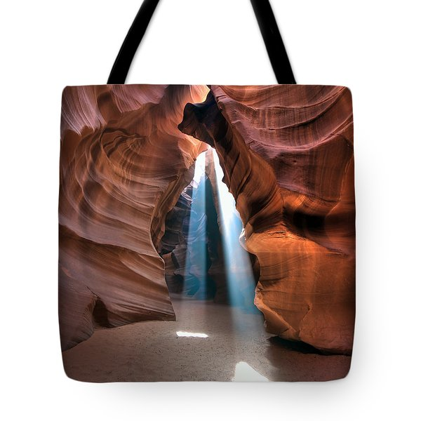 Antelope Canyon Twin Beams Tote Bag by Martin Konopacki