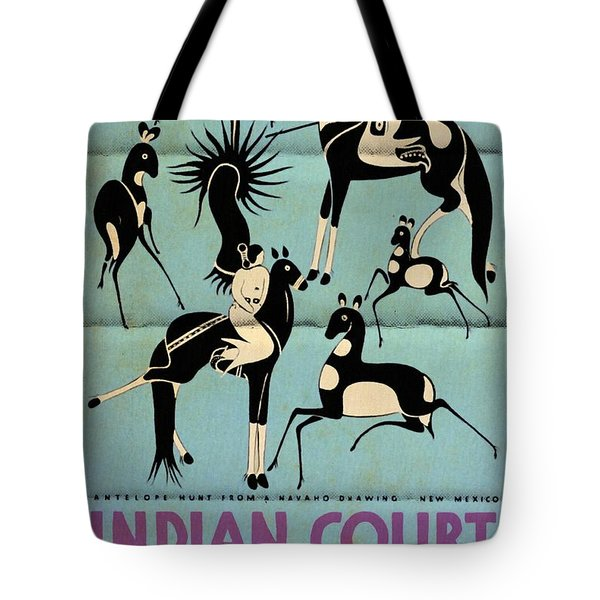 Antelope Hunt From A Navaho Drawing Exhibition - Vintage Poster Folded Tote Bag