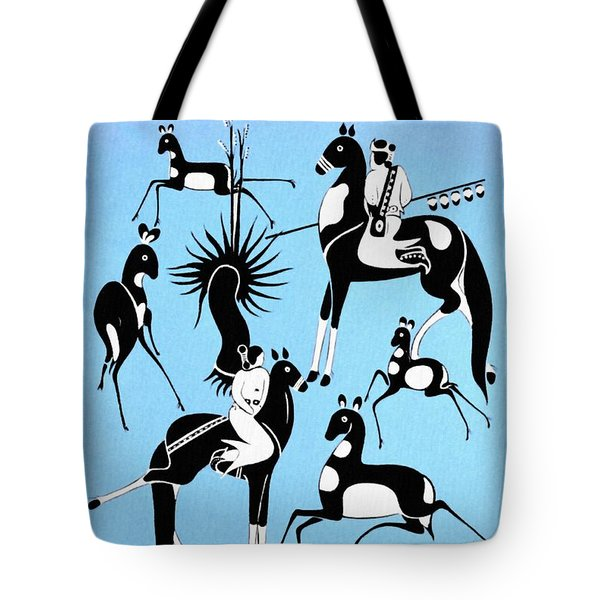 Antelope Hunt From A Navaho Drawing Exhibition - Vintage Poster Restored Tote Bag