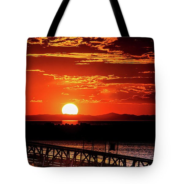 Antelope Island Marina Sunset Tote Bag