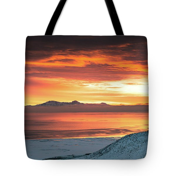 Tote Bag featuring the photograph Antelope Island Sunset by Bryan Carter