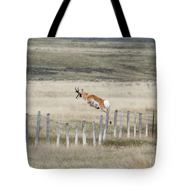 Tote Bag featuring the photograph Antelope Jumping Fence 2 by Rebecca Margraf