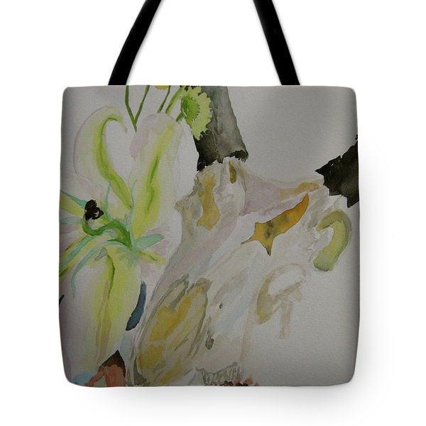 Tote Bag featuring the painting Antelope Skull Pinecones And Lily by Beverley Harper Tinsley