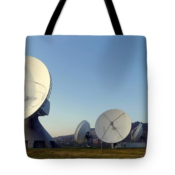 Tote Bag featuring the pyrography Antenna Array 2 Of The Earth Station  by Artistic Panda