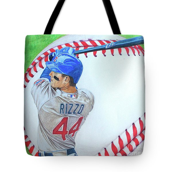 Tote Bag featuring the drawing Anthony Rizzo 2016 by Melissa Goodrich